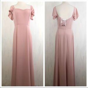 NEW WAYF The Rachel Gored Maxi Flutter Sleeve Gown